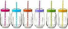 6x Zeller Glas Flasche 480ml mit buntem Deckel und