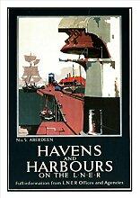 7 Abbotsford-Eisenbahn Seaside Classic Oldschool Best Color für A3 Bilderrahmen, Vintage-Poster