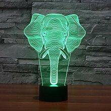 7 farbe elefanten 3d lampe visuelle led nachtlicht