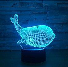 7 Farben Niedliches Tierlicht Wal 3D Sensor Lampe