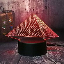 7 Farbenlampe Musee Du Louvre Luxus 3D Pyramide