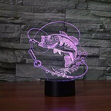 7 Farbwechsel Fisch 3D LED Lampe USB Charge Angeln