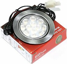 7 Pack 12V Power LED Möbel Schrank Küchen Einbauleuchte Möbelleuchte Einbaustrahler Spot IP20 Kaltweiß 3 Watt LED entspricht einer 30 Watt Leuchte ohne Trafo