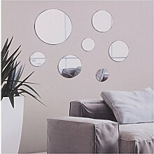 7PC DIY Stick auf Wandspiegel Glas Badezimmer Schlafzimmer Deko, Rund