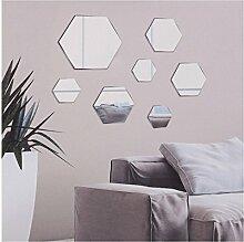 7PC DIY Stick auf Wandspiegel Glas Badezimmer Schlafzimmer Deko, Hexagon