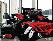 7 pcs Luxus 100% Baumwolle 3D-Bettdecke voll Queensize-Bett in einem Beutel König Bettwäsche set rot rose Lily flower Cat Baumwolle Oberbe