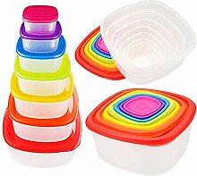 7 PCS Rainbow Plastic Kitchen Fridge Crisper