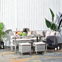 7-Sitzer Gartengarnitur Brentnal mit Polster