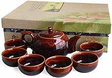 7-teiliges chinesisches Keramik-Teeset,