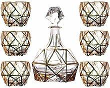 7-teiliges Glas Tumbler & Whisky Dekanter Set