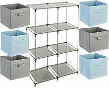 7-teiliges Kindermöbel-Set: 1 Fächerregal + 6 Schubladenkisten - Farbe HIMMELBLAU und GRAU