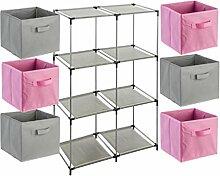 7-teiliges Kindermöbel-Set: 1 Fächerregal + 6 Schubladenkisten - Farbe ROSA und GRAU
