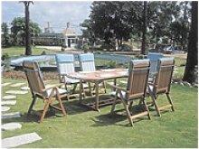 7-tlg. Garten-Sitzgruppe mit Tisch und Hochlehnern