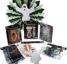 7 Tlg. Komplett Halloween-Partydekoration Kit, Banner, WESTERN- / SALOON- / Cowboy-Motiv