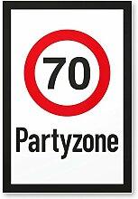 70 Partyzone - Schild, Geschenk 70. Geburtstag, Geschenkidee Geburtstagsgeschenk zum Siebzigsten, Geburtstagsdeko / Partydeko / Party Zubehör / Geburtstagskarte