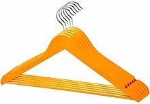 70 Stück qualitativ hochwertiger Designer Kleiderbügel in Orange aus Holz mit Hosensteg und Rockaufhängekerben mit 360 Grad drehbarem Harken Garderobenbügel Holzbügel Hosenstange in einem sehr schönen Design