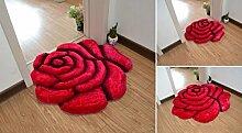 70 x 70cm großer, weicher Teppich in Form einer Rose in 3D-Optik, für das Schlafzimmer ro