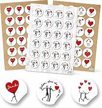 72 Stück HERZ-Aufkleber Sticker Set: 24 Stück