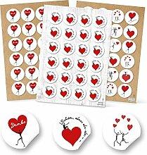 72 Stück Herzaufkleber Aufkleber Sticker Set: 24