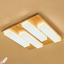 72W Holz LED Deckenleuchte, dimmbar Deckenlampe
