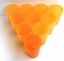 75 Plastik Trinkbecher 0,4 l - orange - Mehrwegtrinkbecher / Partybecher / Becher