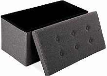 76 x 38 x 38 cm Faltbarer Sitzhocker belastbar bis 200 kg Fußbank Sitzbank Aufbewahrungsbox leinen dunkelgrau Merax®