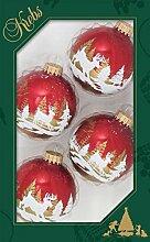 7cm Kugel weihnachtsrot mit winterlicher Rentier