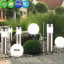 7er Set LED Solar Lampen Kugel Steck Strahler