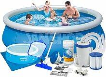 7in1 Fast Set Pool 396 x 84 cm Bestway 57319 mit Filterpumpe 2006 Liter / Stunde und Zubehör