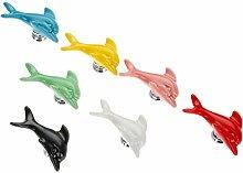 7Pcs Mischfarbe Delphin Form Keramik Schublade Schrank Türgriff Türknöpfe Möbelknauf Hardware