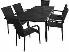 7tlg. Gartengarnitur - Aluminium Ausziehtisch, 160/210x95cm, Polywood Tischplatte + 6x Poly Rattan Gartenstuhl - Gartenmöbel Sitzgarnitur Rattanmöbel Terrassenmöbel Sitzgruppe