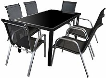 7tlg. Gartengarnitur Sitzgruppe 150x90cm Terrassenmöbel Aluminium Glastisch Stapelstuhl Textilenbespannung Sitzgarnitur Silber Schwarz