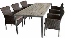 7tlg. Gartengarnitur Sitzgruppe Terrassenmöbel Gartenmöbel Set - Gartentisch, 205x90cm, Polywood-Tischplatte grau + 6x Sessel, Polyrattan, stapelbar, braun-meliert, inkl. Kissen