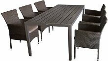 7tlg. Gartengarnitur Sitzgruppe Terrassenmöbel Gartenmöbel Set - Gartentisch, 205x90cm, Polywood-Tischplatte champagner + 6x Sessel, Polyrattan, stapelbar, braun-meliert, inkl. Kissen