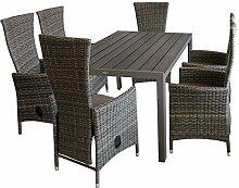 7tlg. Gartenmöbel Terrassenmöbel Set Gartengarnitur Sitzgruppe Gartentisch Polywood 150x90cm + 6x Poly-Rattan Gartensessel braun-meliert, stufenlos verstellbar + Kissen