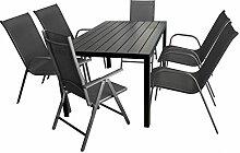 7tlg. Gartenmöbel Terrassenmöbel Set Gartengarnitur Sitzgruppe Aluminium Gartentisch Polywood 150x90cm + 2x Hochlehner + 4x Stapelstuhl