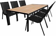 7tlg. Sitzgarnitur - Gartentisch, Aluminiumrahmen, Polywood Tischlatte braun, 205x90cm + 6x Stapelstuhl, Textilenbespannung schwarz / Sitzgruppe Gartenmöbelgarnitur Terrassenmöbel