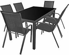 7tlg. Sitzgarnitur Sitzgruppe Gartenmöbel Balkonmöbel Terrassenmöbel Set Gartengarnitur - Aluminium Glastisch 150x90cm + 6 Stapelstühle mit Textilenbespannung
