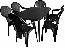 7tlg. Sitzgruppe Gartengarnitur Terrassenmöbel Gartenmöbel Campingmöbel Set - Gartentisch, 138x87cm + 6x Stapelstuhl, Rattan-Look - Kunststoff