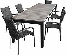 7tlg. Sitzgruppe Gartenmöbel Terrassenmöbel Set Sitzgarnitur Gartengarnitur Ausziehtisch Polywood 205/275x100cm + 6x Gartenstuhl Polyrattan
