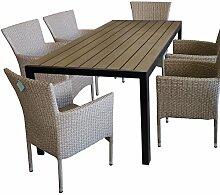 7tlg. Terrassenmöbel Gartenmöbel Set Gartengarnitur Sitzgruppe Sitzgarnitur - Gartentisch, Polywood-Tischplatte, 205x90cm, Braun/Schwarz + 6x Gartensessel, Poly-Rattangeflecht, naturfarben