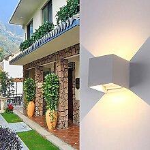 7W LED Wandleuchte Aussen Wandlampe mit einstellbar Abstrahlwinkel Modern Warmweiß IP65 Wasserdicht Dimmbar Wandbeleuchtung Mit Schalter Effektlicht für Aussen und Innen