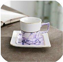 7ZOP13 Marmor-Muster, Kaffeetasse und Untertasse,