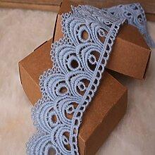 8 CM Breite Europa Die Welle muster Inelastische Stickerei Spitzenbesatz, Vorhang Tischdecke Slipcover Braut Selbermachen-Kleidung/Zubehör (3,7 Meter in einem Paket) (hellblau)