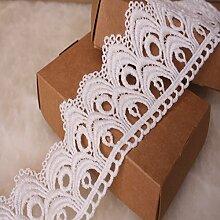 8 CM Breite Europa Die Welle muster Inelastische Stickerei Spitzenbesatz, Vorhang Tischdecke Slipcover Braut Selbermachen-Kleidung/Zubehör (3,7 Meter in einem Paket) (weiß)