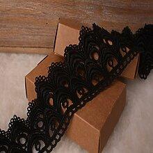 8 CM Breite Europa Die Welle muster Inelastische Stickerei Spitzenbesatz, Vorhang Tischdecke Slipcover Braut Selbermachen-Kleidung/Zubehör (3,7 Meter in einem Paket) (schwarz)