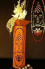 8-Eck Säule Buddha + Schale Classic Edelrost Rost Metall Gartendeko Garten Stele
