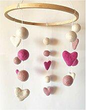 8-Natur Mobile Herz pink rosa Weiss aus 100%