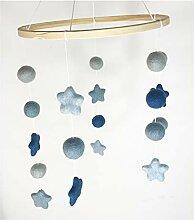 8-NATUR - Mobile Stern blau aus 100% Merino Filz