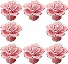 8 Stk 41mm Euro Style Vintage Floral Rose Form Keramik Pull behandelt Küchenschrank Schrank Schublade Tür Knöpfe Rosa